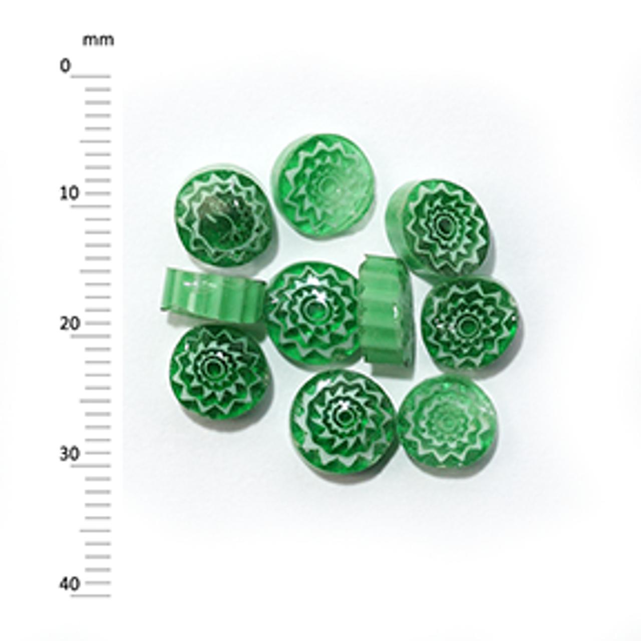 Millefiori - 50g pack (M066), green, 7-9mm