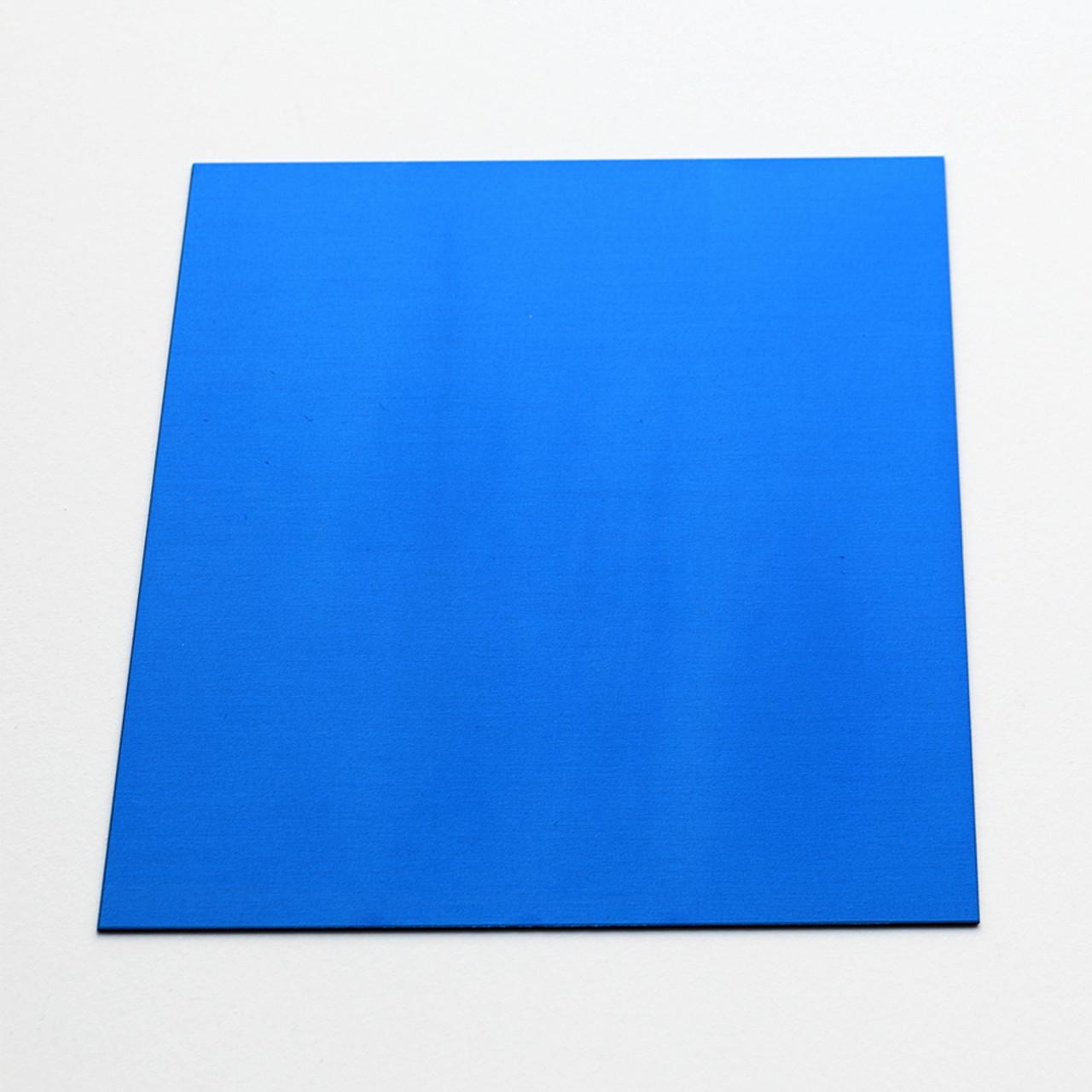Blue anodised aluminium square