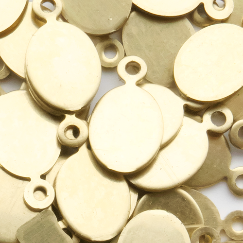 Oval, 10*8 mm with lug - 10 Pack (Brass Blank 772)