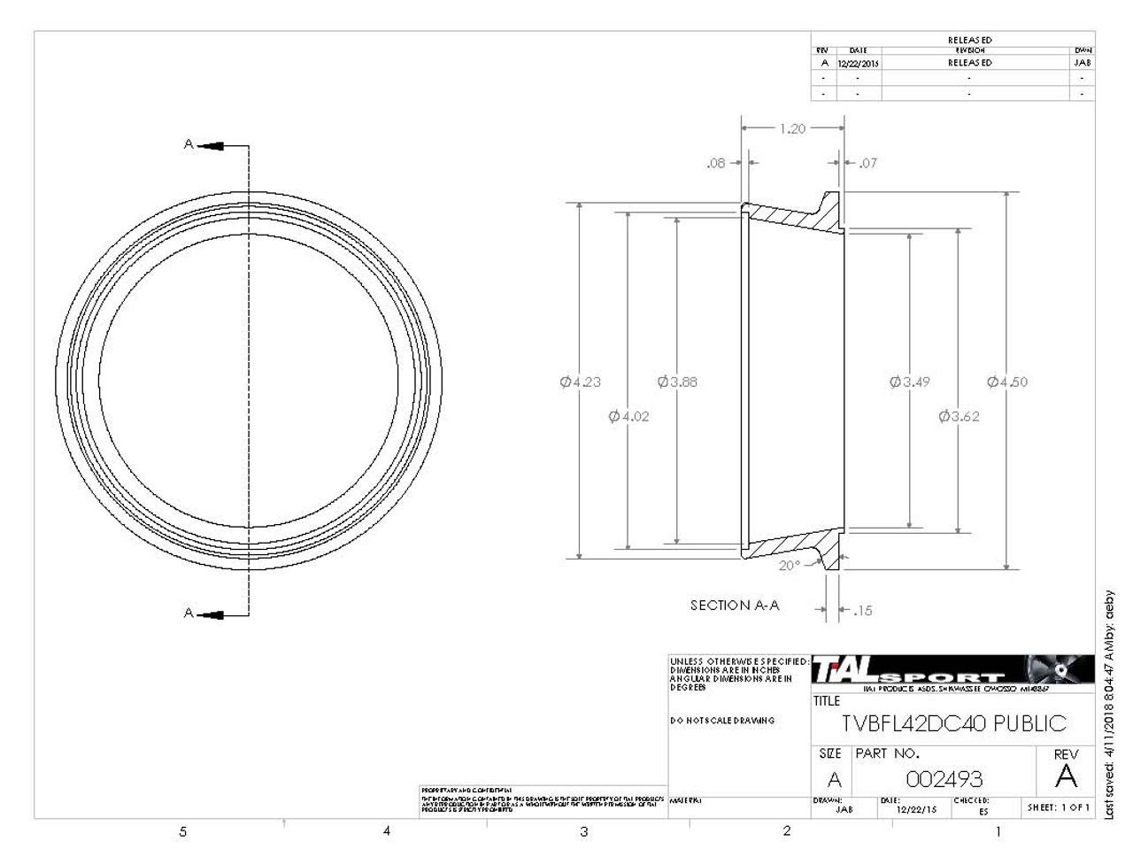 "4.50"" V Band Outlet Flange and Clamp Kit for Tial V4V Housings to 4"" Tube"