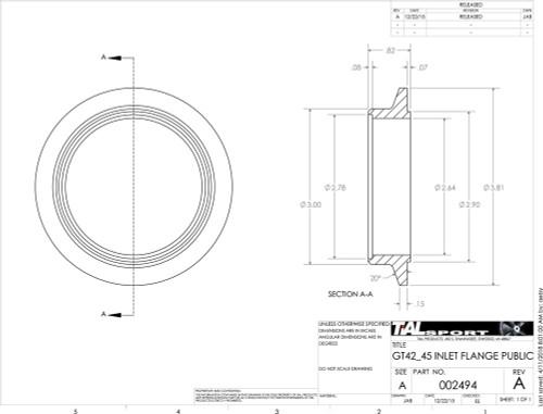 """3.81"""" V Band Inlet Flange for Tial V4V and V45V Housings to 2.75 tube"""