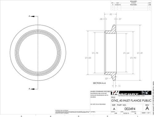 """3.81"""" V Band Inlet Flange and Clamp Kit for Tial V4V and V45V Housings to 2.75 tube"""