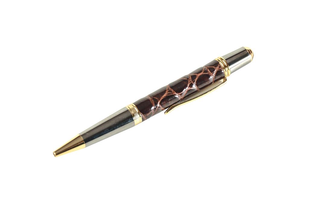 Crocodile Skin Pen - Brown