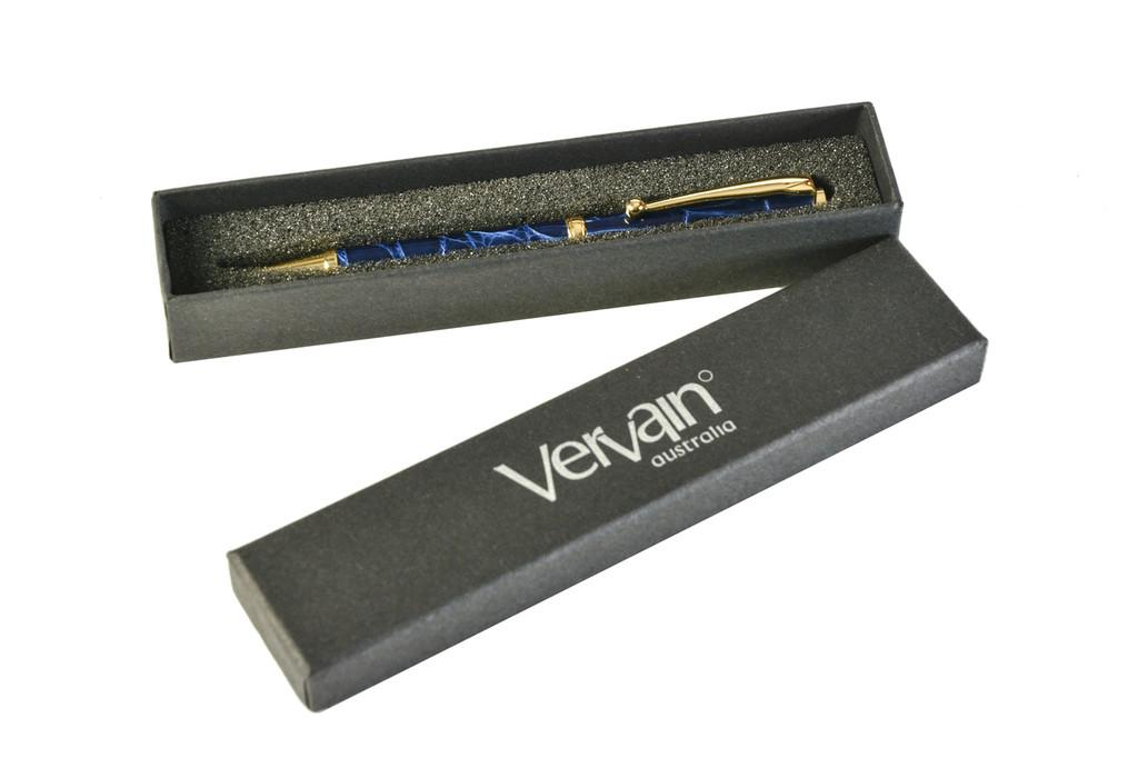 Slim Crocodile Skin Pen - Blue