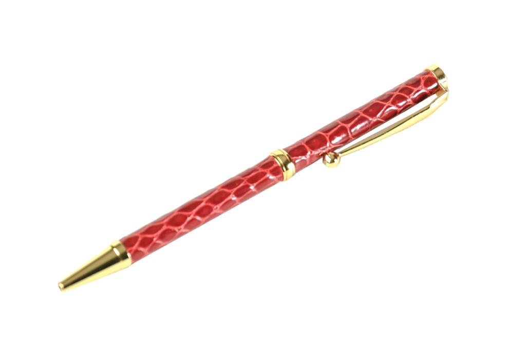Slim Crocodile Skin Pen - Red