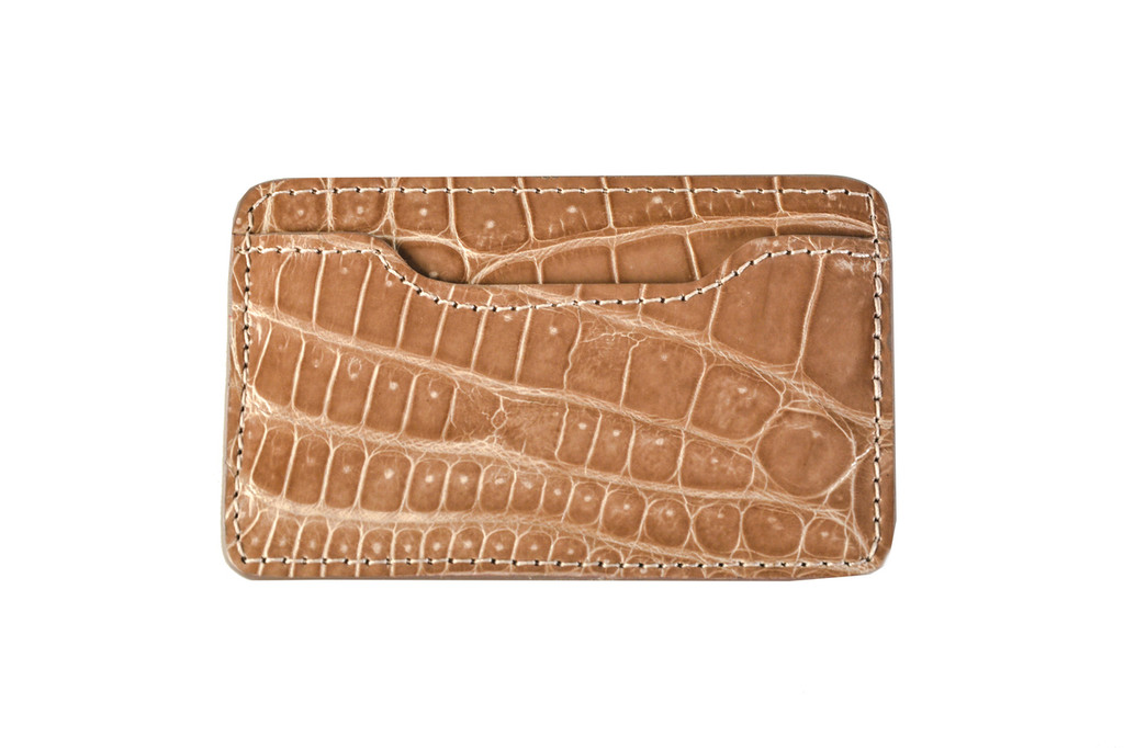 Notched Leather Blend Card Holder - Camel