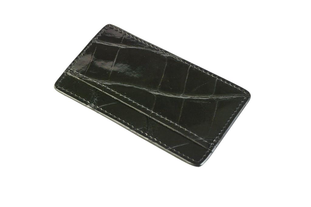 Rounded Corner Leather Blend Card Holder - Black