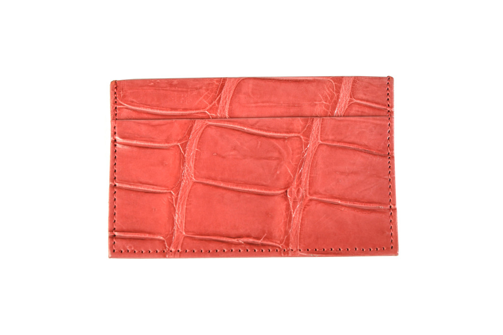 Half Croc Card Holder - Red