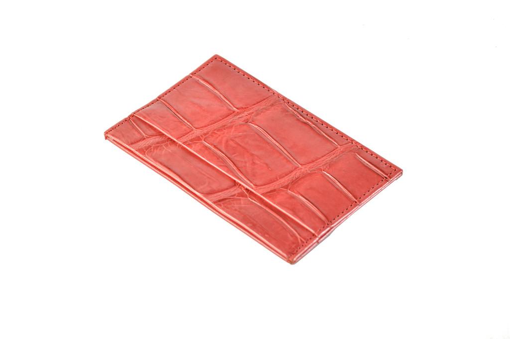 Standard Leather Blend Card Holder - Red