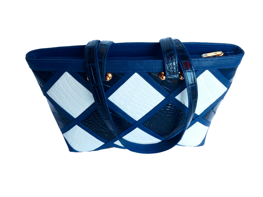 The Candice Patchwork Tote   Navy & White
