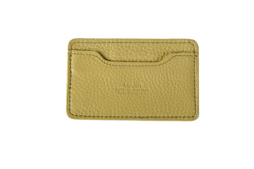 Notched Leather Blend Card Holder - Pear