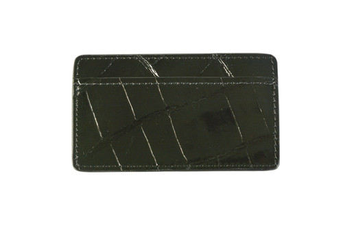 Half Croc Card Holder - Black
