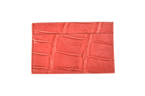 Standard Leather Blend Card Holder - Red