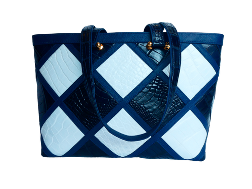 The Candice Patchwork Tote | Navy & White