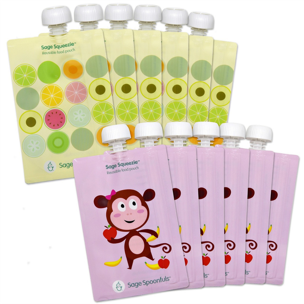 Sage Squeezie Monkeys & Fruit Dots - 12 Pack