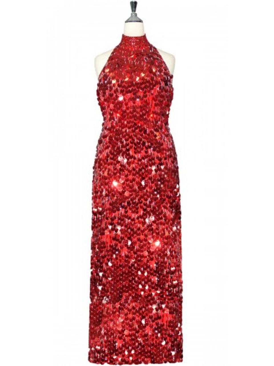 a2b3c4398e53 Long Chinese Collar Dress | Handmade | Paillette Sequin Spangles | Metallic  Red | SequinQueen