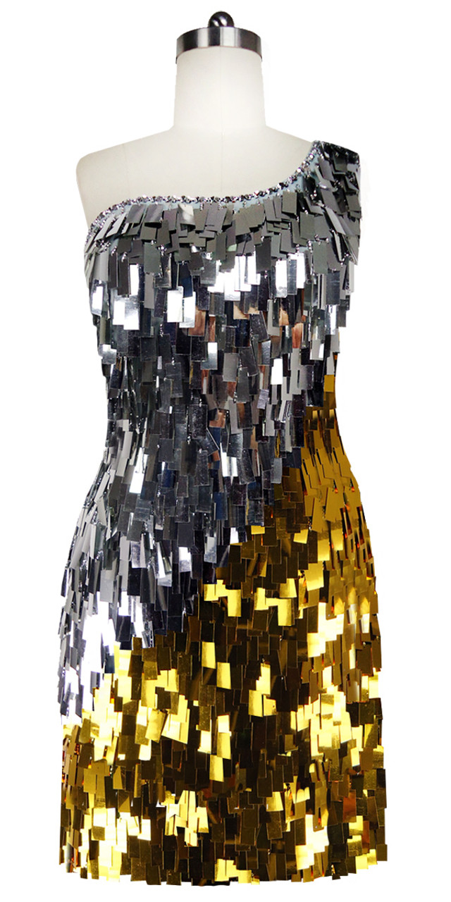c47a0b2174e Short Patterned Dress | Paillette Hanging Sequin Spangles | Silver | Gold |  SequinQueen