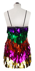 Short Handmade Multicolored Rectangle Paillette Sequin Dress back view