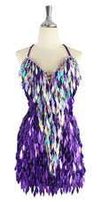 A short handmade sequin dress, with diamond-shaped metallic silver and purple sequins front view