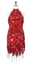 Short Handmade 20mm Paillette Hanging Metallic Red Sequin Dress Chinese Collar and Jagged, Beaded Hemline front view