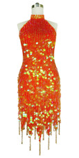 Short Handmade 20mm Paillette Hanging Transparent Orange Sequin Dress Chinese Collar and Jagged, Beaded Hemline front view