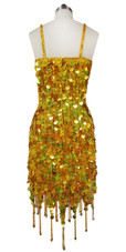 Short Handmade 20mm Paillette Hanging Hologram Gold Sequin Dress with Jagged, Beaded Hemline back view
