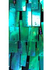 Short Handmade Rectangular Paillette Hanging Metallic Iridescent Dark Green Sequin Dress close up