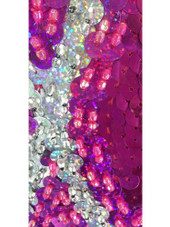 A long handmade sequin dress in flat metallic fuchsia sequins and silver sequin and pattern pattern throughout with a classic flared hemline cut close up view