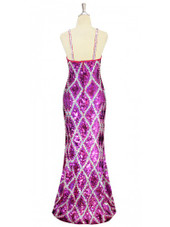 A long handmade sequin dress in flat metallic fuchsia sequins and silver sequin and pattern pattern throughout with a classic flared hemline cut back view