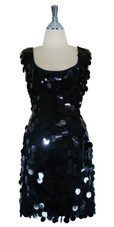 Short Handmade 30mm Paillette Hanging Black Sequin Sleeveless Dress with U Neck front