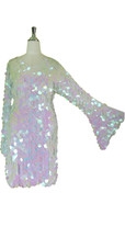Short Handmade 30mm Paillette Hanging Iridescent Pinky White Sequin Dress with V Neck and Oversized Sleeves
