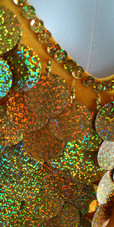 Short Handmade 30mm Paillette Hanging Hologram Gold Sequin Dress with V Neck and Oversize Organza Sleeves Close view