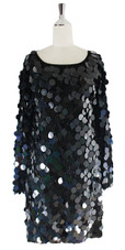 Short Handmade Black Hologram Sequin Dress with Sleeves - Front View