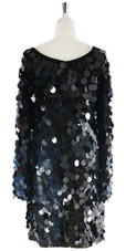 Short Handmade Black Hologram Sequin Dress with Sleeves - Back View