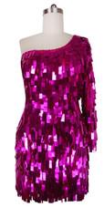 Short Handmade Rectangular Paillette Hanging Metallic Fuchsia Sequin Dress with One-sleeve Cut front view