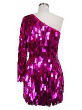 Short Handmade Rectangular Paillette Hanging Metallic Fuchsia Sequin Dress with One-sleeve Cut back view