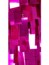 Short Handmade Rectangular Paillette Hanging Metallic Fuchsia Sequin Dress with One-sleeve Cut close up view