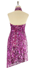 A short sequin fabric dress, in Duality fuchsia and silver sequins back view