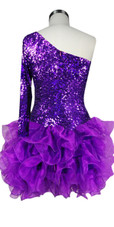 Short Shimmering Sequin Fabric Short Dress In Purple With One Sleeve And Ruffle Hemline Back View