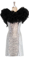 Short Silver Sequin Fabric Dress With Black Ruffles At Neckline Back View