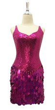 Short Red Sequin Fabric Dress With Hologram sequins Skirt