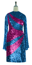 Short patterned dress in metallic turquoise and fuchsia sequin spangles fabric with oversized sleeves front view