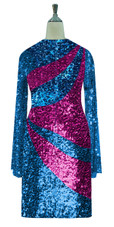 Short patterned dress in metallic turquoise and fuchsia sequin spangles fabric with oversized sleeves back view