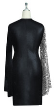Short patterned dress in metallic silver sequin spangles fabric and stretch black fabric with oversized sleeves back view