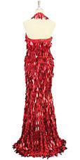 Long handmade sequin dress in unique diamond-shaped metallic red paillette sequins, red faceted beads and with a halter-necked cut back view