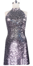 Sequin Fabric Short Dress in Silver with Open Back and Chinese Collar Front View