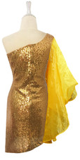 Short Turquoise And Gold Sequin Fabric Dress With One Shoulder Gold Ruffle Sleeve  Back View