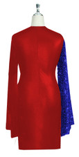 Short patterned dress in metallic blue sequin spangles fabric and stretch red fabric with oversized sleeves back view