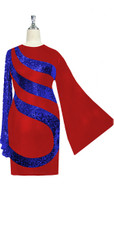 Short patterned dress in metallic blue sequin spangles fabric and stretch red fabric with oversized sleeves