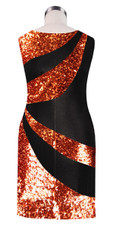 Short patterned dress in metallic copper and black sequin spangles fabric back view